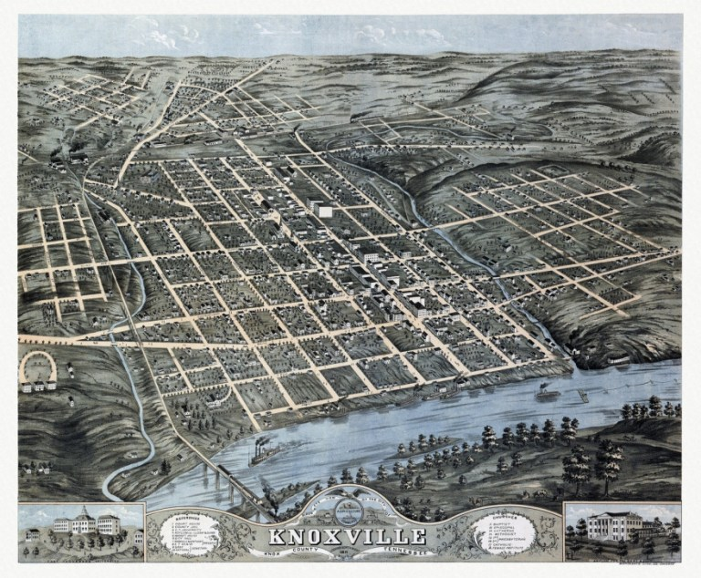 vintage map of knoxville