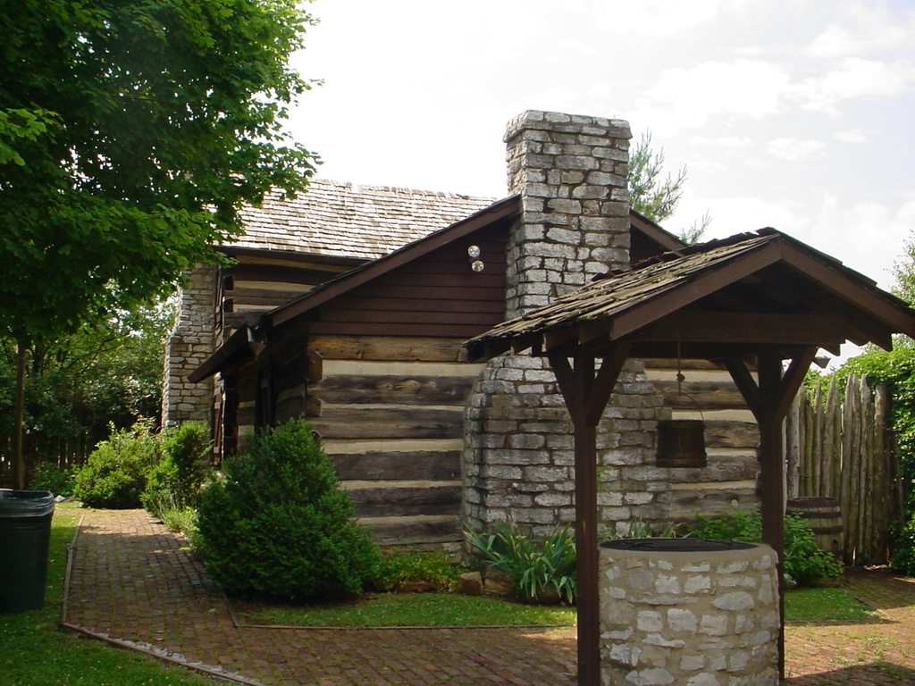 old well with cabin in the background
