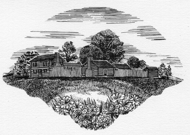black and white drawing of James White's Fort